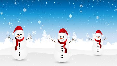 Snowmen on the winter forest, vector art illustration. Illustration