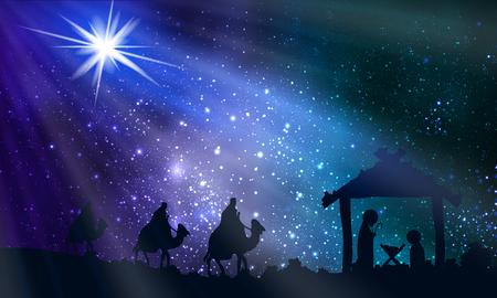 Gesù Maria e Giuseppe nella notte di Natale, illustrazione arte vettoriale. Vettoriali
