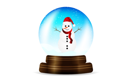 Snowy holiday sphere, vector art illustration.