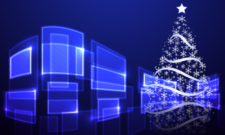 Abstract christmas tree on hi-tech background, vector art illustration Illustration