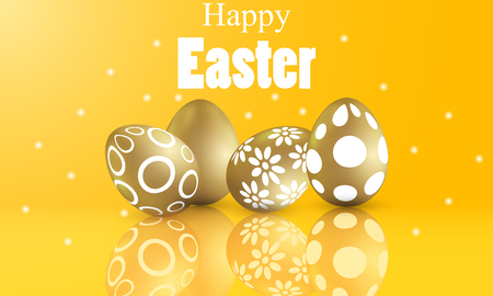 Happy easter concept with painted golden patterned eggs Illustration