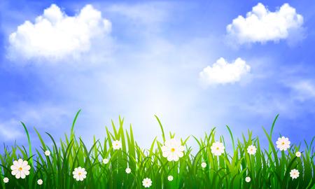 Cielo azul con nubes, ilustración de arte vectorial.