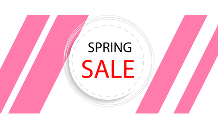 Round banner of spring discounts, vector art illustration.