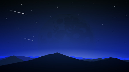 Comets on the night sky, vector art illustration.