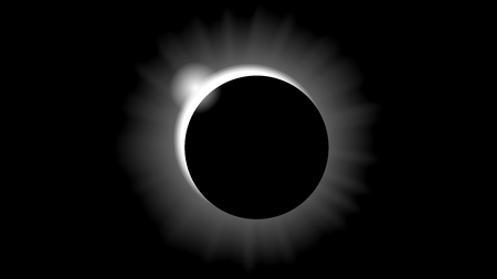 Solar eclipse in black and white style Ilustração