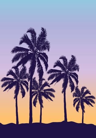 Palm trees on an orange blue sunset