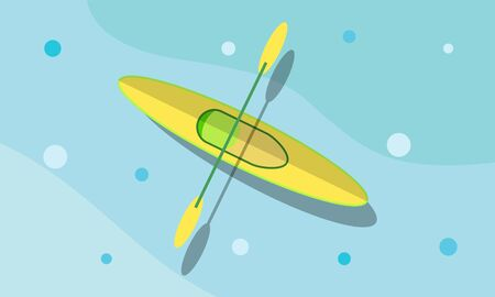 Canoeing in the sea in flat design