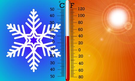 The concept of temperature in summer and winter Imagens - 126633324