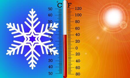 The concept of temperature in summer and winter Ilustração