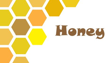 Honey word with honeycomb pattern on white