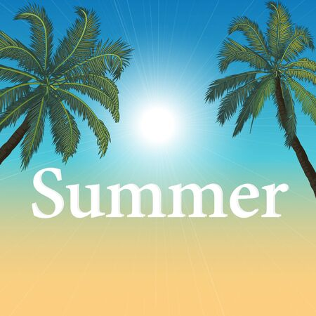 Summer abstract beach poster with palm trees