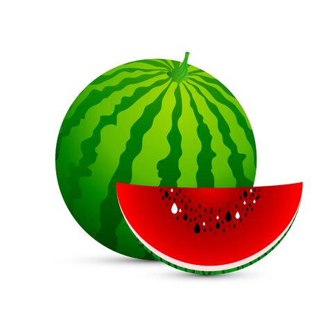 Isolated watermelon and a slice of watermelon