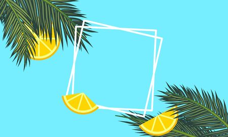 White frames and palm branches with lemons Imagens - 128053760