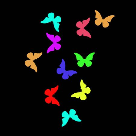Black  with colorful butterflies Imagens - 128053759