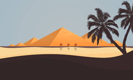 Desert View of the Egyptian Pyramids Imagens - 128053764