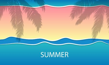 Summer blue banner with rainbow leaves