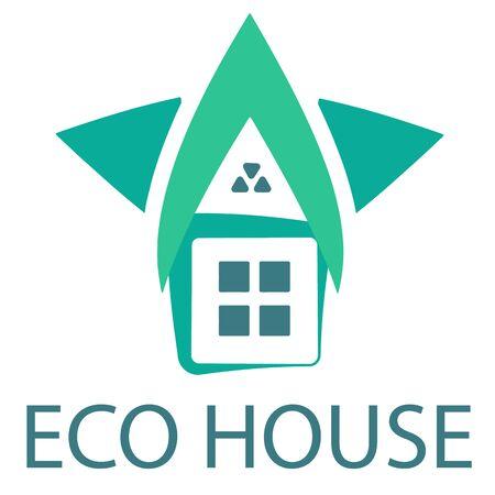 Casa verde en blanco Ilustración de vector