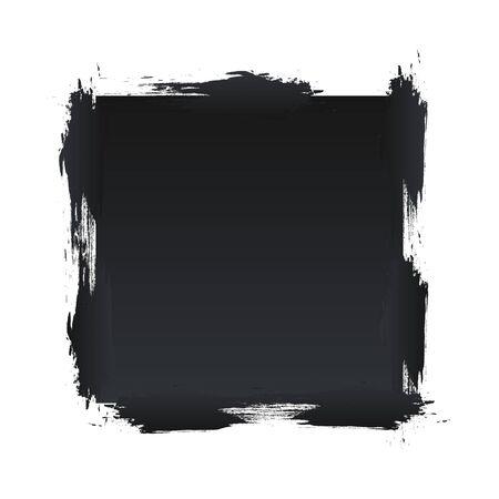 Black square banner with shabby edges Ilustração