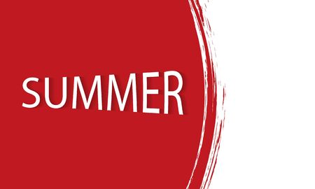 Red watercolor summer banner Imagens - 128054261