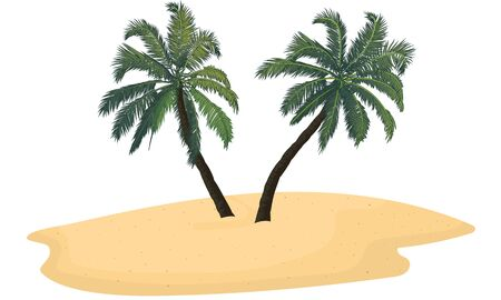Isolated sand island with two palm trees