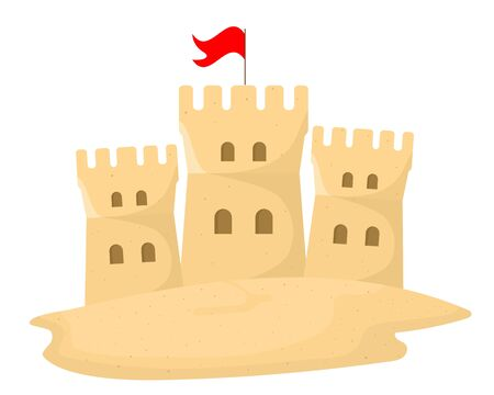 Sand castle on white