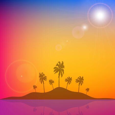 Island with palm trees against orange blue sky