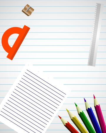 Banner of school supplies on a striped sheet, vector art illustration Imagens - 130982596