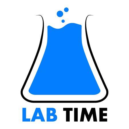 Laboratory time logo, vector art illustration.