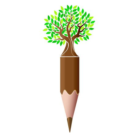 Tree and pencil logo, vector art illustration.