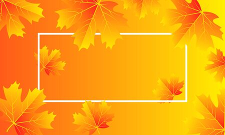 Autumn  with leaves and white frame, vector art illustration. Imagens - 130982603