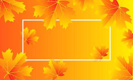 Jesień z liśćmi i białą ramką, ilustracja wektorowa sztuki.