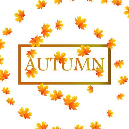 Autumn leaves on the  of the inscription autumn, vector art illustration. Imagens - 130982604