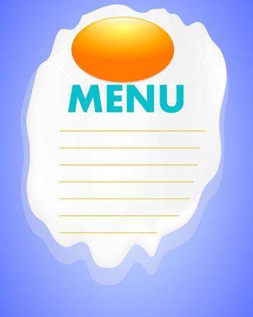 Fried eggs menu, vector art illustration. Ilustração