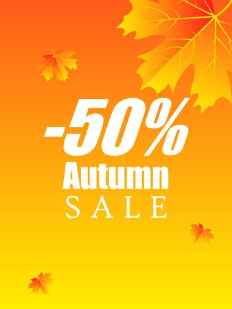 Poster for autumn discounts, vector art illustration. Imagens - 130982606