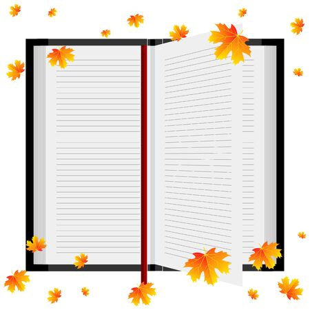Open book with autumn leaves, vector art illustration.