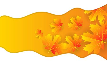 Autumn banner with leaves and white wavy lines, vector art illustration. Imagens - 130982610