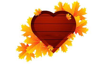 Autumn leaves and wooden heart, vector art illustration. Ilustração
