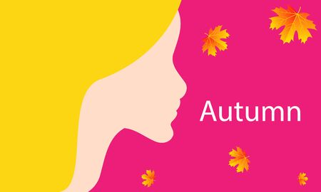 Banner girl with autumn hair, vector art illustration. Imagens - 130982892