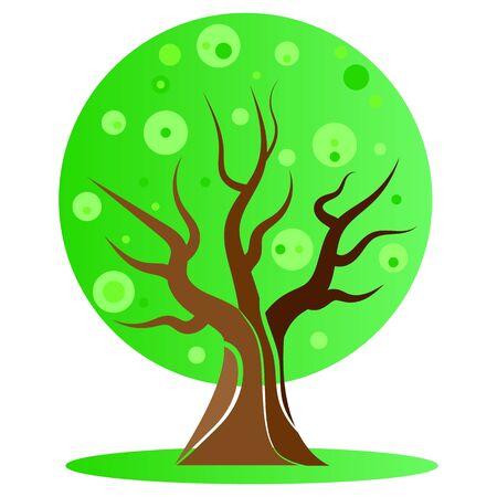 Green flying tree, vector art illustration.