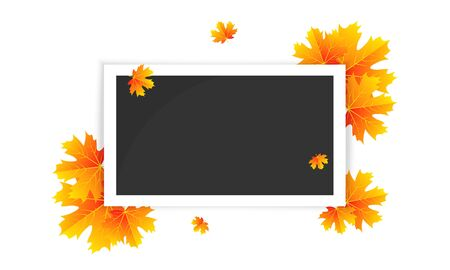 Photo frame and autumn leaves, vector art illustration.