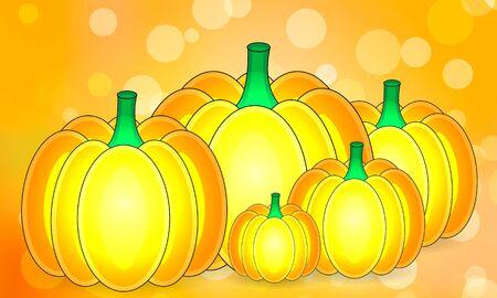 Pumpkins on autumn bokeh Ilustração