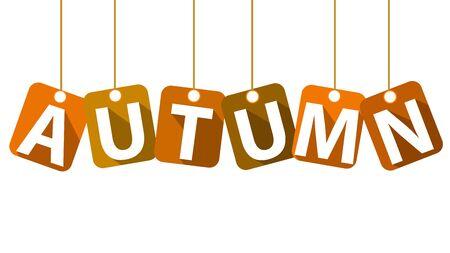 Word autumn on the clothesline, vector art illustration. Ilustração