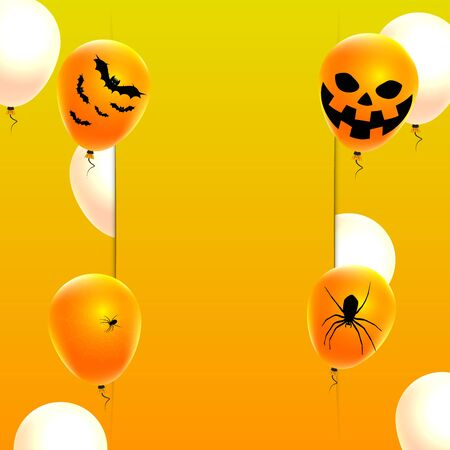 Balloons on the  for Halloween, vector art illustration.