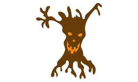 Scary stump in halloween, vector art illustration. Imagens - 130982899