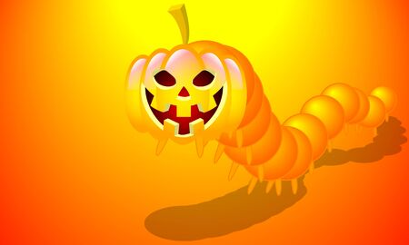 Halloween pumpkin centipede, vector art illustration. Imagens - 130982905