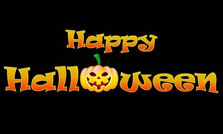 Happy Halloween inscription with pumpkin on a black