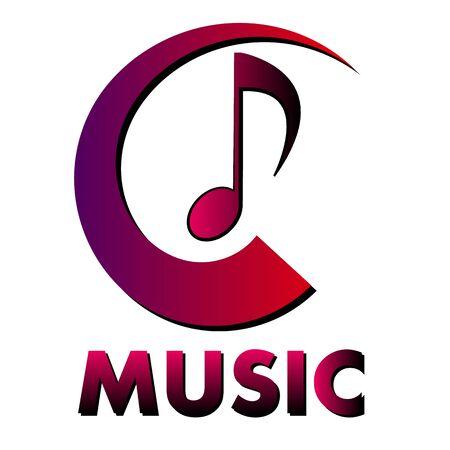 Musical music logo, vector art illustration.