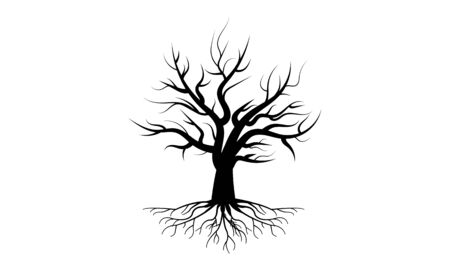 Tree with roots in black design, vector art illustration.