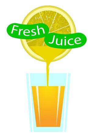 Glass of Orange Fresh, vector art illustration. Ilustração