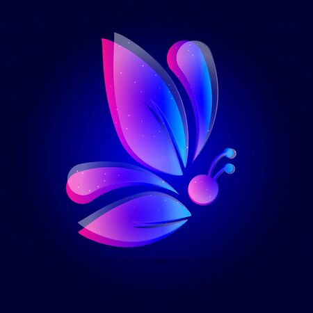 Abstract  butterfly with leaf, vector art illustration.